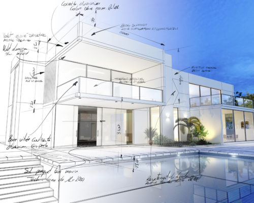3D rendering of a luxurious villa with contrasting realistic rendering and wireframe and notes